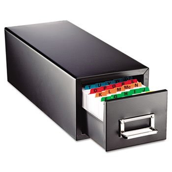 Drawer Card Cabinet Holds 1,500 5 X 8 Cards, 9 7/8 X 18 1/8 X 9 by SteelMaster.