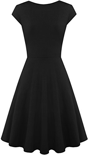 Neck Women A Dress Black Swing for Sleeve Cap V Dresses Line Casual qFfTwfpan