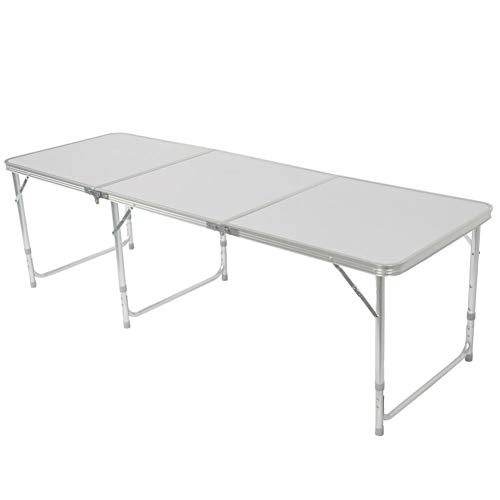 rainrain27 Folding Table, 180 x 60 x 70cm Home Use Aluminum Alloy Folding Table White Indoor Outdoor Portable Folding Plastic Dining Table for Picnic, Party, Camp