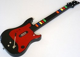Wii, PS3, PS2, PC Universal Wireless Guitar for Guitar Hero and Rock Band Games Color Red