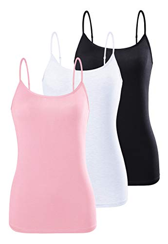 AMVELOP Adjustable Womens Camisole Spaghetti Strap Tank Top Camis Black White Pink L