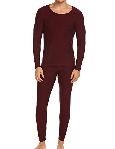Ekouaer Long Sleeve Tops&Fleece Lined Pants Winter Thermal for Mens Long Underwear (Wine Red,Medium)