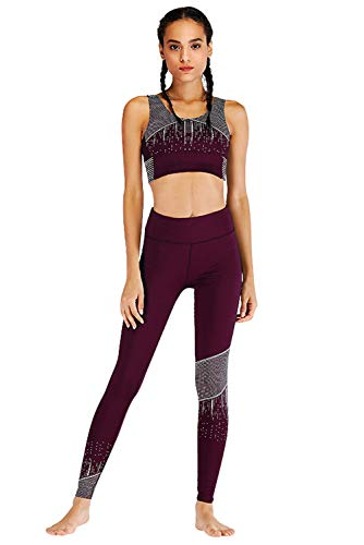 Trousers Imprimé Ensemble Jogging Et Pantalon Yoga Activewear Tops Sportswear Leggings Running Violet 2pcs Up Sport Survêtement 1899 gorge Push Femme Soutien Tank Gym De Tenue XA8FWOH
