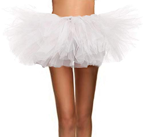 ASSN Women's Classic 80s Mini Puffy Tutu Halloween Run Bubble Ballet Skirt 6-Layered White Plus]()