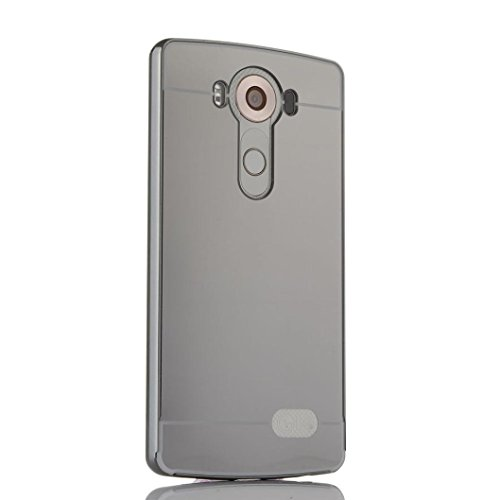 Price comparison product image For LG V10 F600,  Mchoice Luxury Thin Aluminum Metal Bumper Mirror PC Back Case Cover for LG V10 F600 (Black)