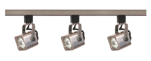 Nuvo Lighting TK347 3-Light 50-Watt MR16 Square Head Track Light Kit, Brushed Nickel