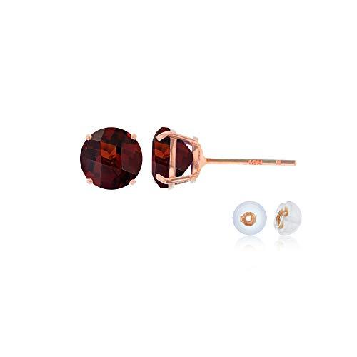 Genuine 10K Solid Rose Gold 4mm Round Natural Red Garnet January Birthstone Stud Earrings