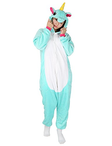 Unicorn Onesie Animal Pajamas Adult Sleepwear Kigurumi Cosplay Halloween Costume (M (Height 161-170 CM), Light Green) - Animal Halloween Costumes Ideas
