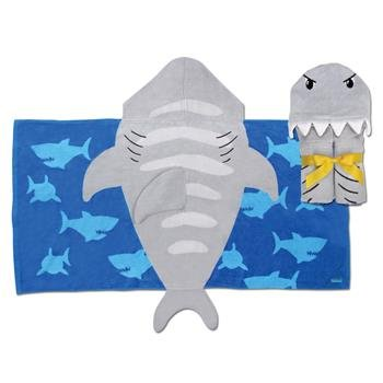 Custom Personalized Stephen Joseph Beach Hooded Bath Towel for Baby, Toddler, and Children- Absorbent 100% Cotton (Shark)