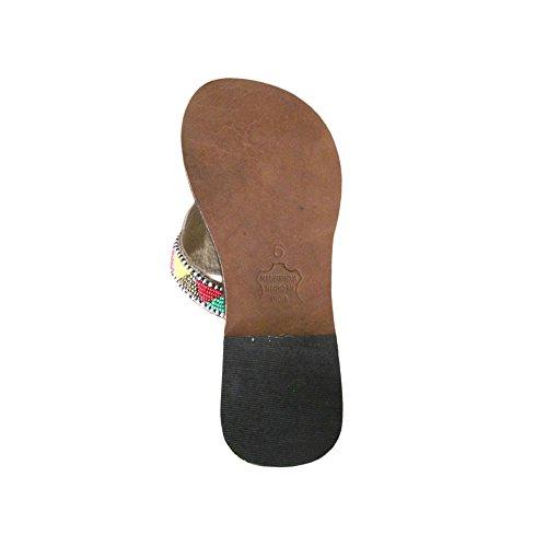 KALRA Creations Damen Traditionelle Leder indischen Casual Hausschuhe Schwarz