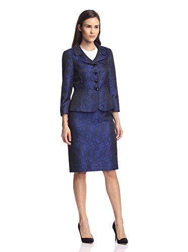 (Tahari by ASL Women's Jacquard Skirt Suit, Black/Royal, 6 US)