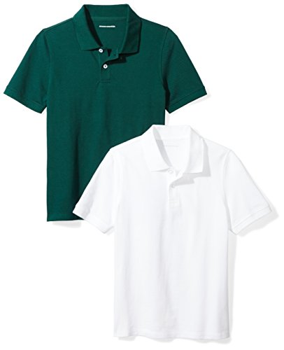 Amazon Essentials Little Boys' Uniform Pique Polo, Bright White/Hunter Green, S (6-7)