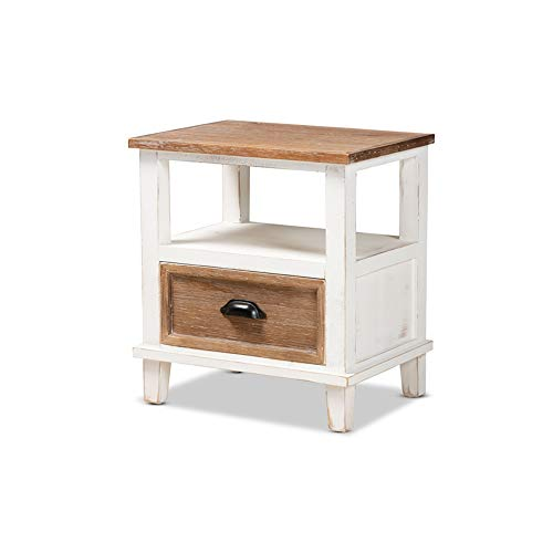 Baxton Studio Glynn Rustic Farmhouse Weathered Two-Tone White and Oak Brown Finished Wood 1-Drawer Nightstand