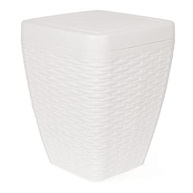 1.63-Gal Square Trash Can Color: White