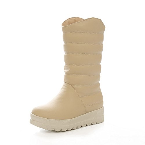 1TO9 Girls Color Matching Thick Bottom Heel Snow Boots Imitated Leather Boots Beige