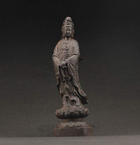 China Handwork Ebony Wood Carved Kwan-yin Statue Rustic Handcrafted Art Sculpture Figurine