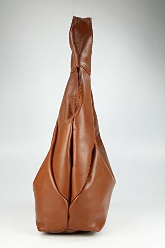 "Belli® ""Bellissima Italiana. Piel de Napa Shopper Bolsa Marrón coñac XL–�?4x 23(Central) X17cm (B X H X T)"
