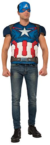 Avengers Age Of Ultron Captain America Costume (Rubie's Avengers Age Of Ultron Adult Captain America Muscle Chest Costume Top and Mask, As Shown,)