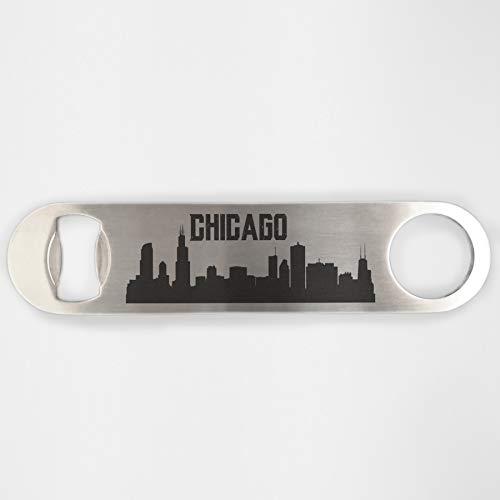 Chicago Skyline Stainless Steel Heavy Duty Flat Bar Key Beer Laser Etched Bottle Opener