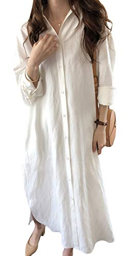 GGUHHU Womens Chic Button Down Rolled-Up Sleeve Long Cotton Blouse Maxi Dress (Small, White)