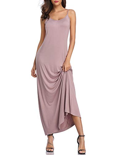 GUBERRY Womens V Neck Spaghetti Strap Cami Slip Loose Long Summer Maxi Dress