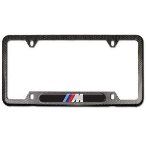 bmw m logo license plate frame faux carbon fiber
