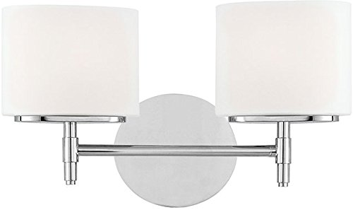 Hudson Valley 8902-PC, Trinity Glass Energy Star Wall Vanity Lighting, 2 Light Xenon, Chrome