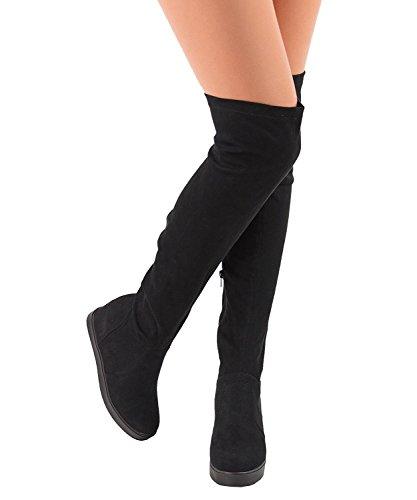 Der versteckte Keil der Frauen über dem Knie stickt runde Zehe Beleg auf hinterer Bindung Plattform-Schenkel-hohen Aufladungen durch ShoBeautiful Schwarz