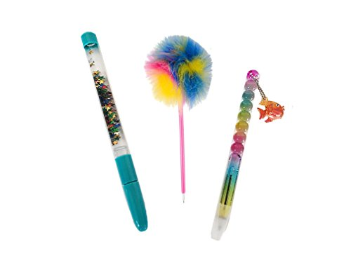 Aryellys Novelty Ballpoint Pen 3 Pack Set for Kids, Adults, Teachers, Secretaries (Sea Life | Feather Pom Pom | Stars Sparkle Glitter) ()