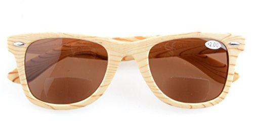 1 Rayas gris sol Clásico Lente 75 Gafas Eyekepper Beige de Bifocales q70WwTAxzP