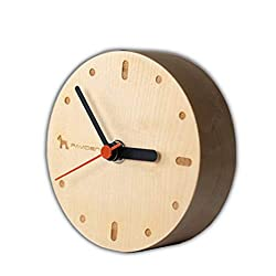 Ann Lee Design Vintage Simple Wooden Small Clock, Wall or Desk (Maple)