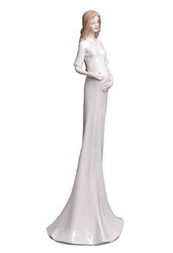 12 Inch White Porcelain Figurine of a Slender Pregnant Woman