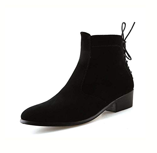 HYLFF Men Ankle Boots,Suede Chelsea Ankle Boots Casual Martin Boots High Tube Thick with Short Boots Round Head Thick Boots Tooling Shoe,Black,44EU ()