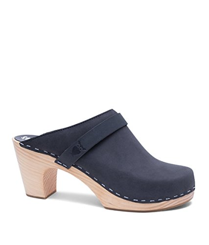 (Sandgrens Swedish Clog Mules High Rise Wooden Heel for Women | Maya Black, EU 38)