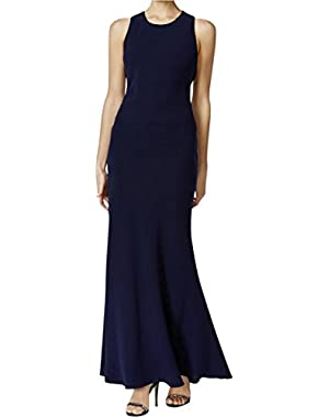 Calvin Klein Womens Open Back Sleeveless Evening Dress