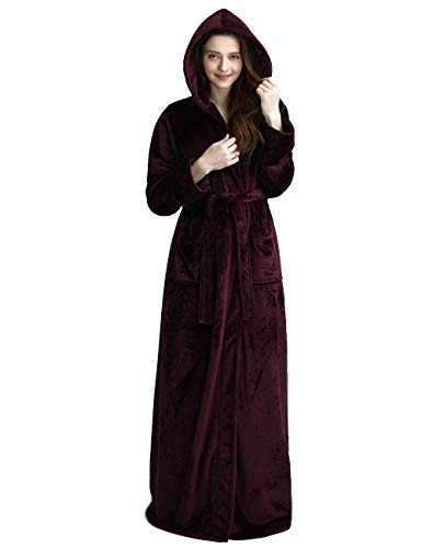 Womens Long Hooded Bathrobe Fleece Full Length Bathrobe with Hood Winter Sleepwear, Wine-XL
