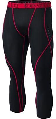 TSLA Men's Compression 3/4 Capri Pants Baselayer Cool Dry Sports Running Yoga Tights