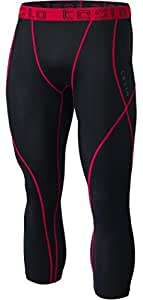 TM-MUC18-KKR_2X-Large Tesla Men's Compression 3/4 Capri Shorts Baselayer Cool Dry Sports Tights MUC18
