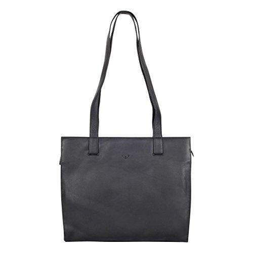 VOi Leder Schultertasche Businesstasche für DIN A4 Unterlagen Handtasche Ledertasche 20766 schwarz