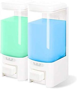 AQL ソープディスペンサー、ダブルウォールマウントシャワーポンプ、シャンプーとソープディスペンサー、マニュアルソープディスペンサー (Color : White, Size : 2)