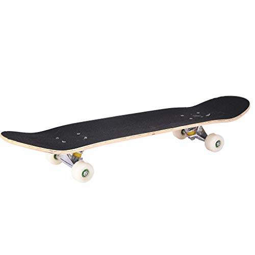 ErYao Rookie Skateboard Complete 4 Wheels Skateboard, Longboard 31x8 Inch for Children and Adults Fits 3.9Ft Tall, 2inch Diameter Wheels(USA Stock) (Black)