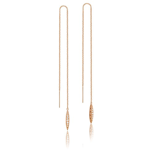 Tacori SE224P 18K Rose Gold The Ivy Lane Diamond Pavé Surfboard Thread Earrings (0.14 cttw, H to I Color, I2 to I3 (Tacori 18k Earrings)