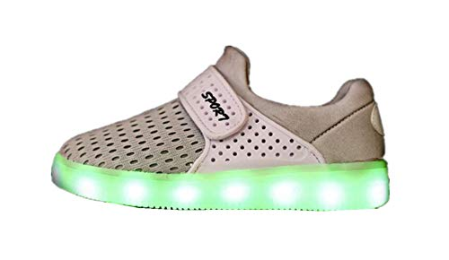 ZWEILI LED Lights Shoes Low to Help Mesh Shoes USB Charging Shoes for Boys and Girls(White,EU 35/3 M US Little -