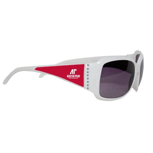 Austin Peay Ladies White Rhinestone Sunglasses 'AP Austin Peay Governors - Official Athletic Logo' by CollegeFanGear