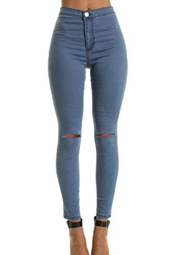 Las Mujer ELasstica De Cintura Alta Pantalones Skinny Jeans Rasgado Hoyos Azul
