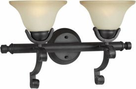 Forte Lighting 5219-02-64 Transitional 2-Light Vanity Fixture with Shaded Umber Glass, Bordeaux Finish ()