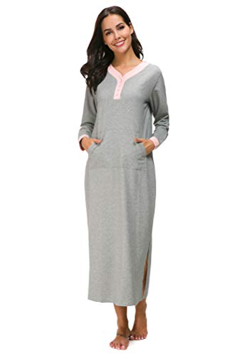 M-anxiu Womens Full Length Fleece Nightgown Pullover Sleepwear with Pocket(Gray,Large)