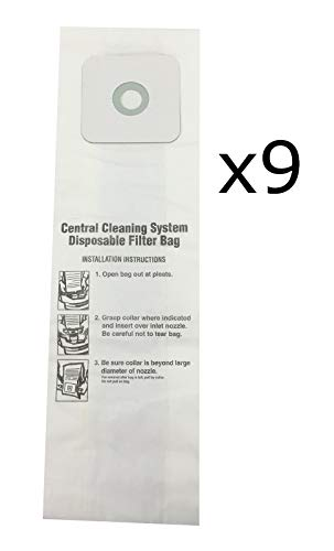 Central Vac Bags for Nutone 6 Gallon CV350, CV352, CV353, CV450, CV653 9-Pack ()