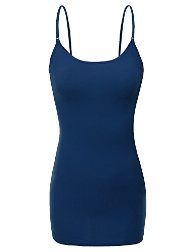 RT1002 Ladies Adjustable Spaghetti Strap Basic Long Cami Tank Top Navy L ()