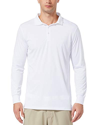 Baleaf Men's UPF 50+ Performance Quick Dry Golf Solid Polo Active Shirt Long Sleeve White Size M
